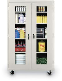 "122028 - 36"" x 24"" x 78"" Mobile Clear View Steel Storage Cabinet"