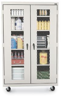 "122074 - 46""W x 18""D Expanded Metal Front Transport Mobile Cabinet"