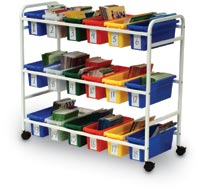 170332 - Book Cart with Eighteen Small Tubs