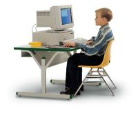 "3526GM - 72"" x 30"" x 24""-32""H Computer Table with Casters"