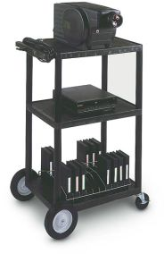"LP42CEBW - 42"" Three Shelf Cart with Cabinet, Electric & 8"" Wheels"