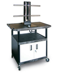 Wide Top Shelf Cart with Mount and Cabinet