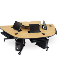 3-Person Semi-Recessed Flat Panel Workstation