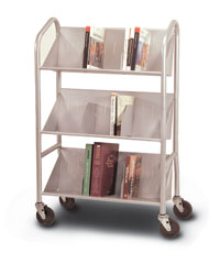 Silver Sloped Shelf Cart with Dividers