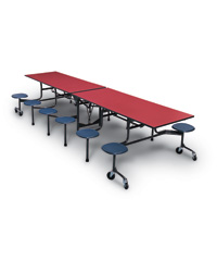 Mobile Stool Cafeteria Tables